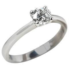 Round Brilliant Cut 0.64 Carat Diamond White Gold Engagement Ring