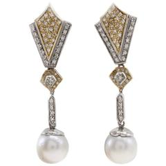 Luise Gold Diamond Pearl Earrings