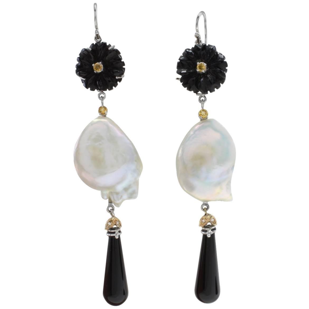 Gold Diamond Sapphire Onyx Baroque Pearl Earrings