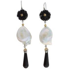 Gold Diamond Sapphire Onyx Baroque Pearl Earrings