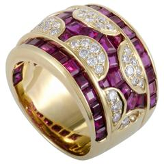 Adler Yellow Gold Diamond and Invisibly Set Ruby Ring