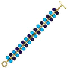 Rosaria Varra Turquoise and Amethyst Bead Bracelet