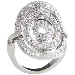 Bulgari 1.20 Carat Diamond Gold Shield Design Cerchi Ring