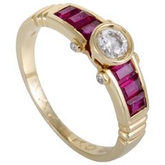 Korloff Diamond Ruby Baguette Yellow Gold Ring