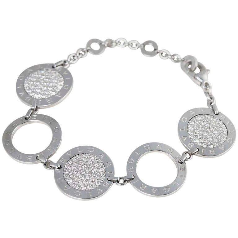 Bulgari 18 Karat White Gold Diamond Circle Link Bracelet