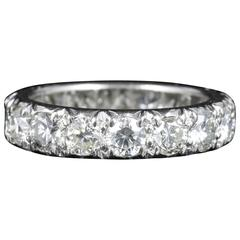 Antique Edwardian Diamond Eternity Ring 3.84 Carat Platinum