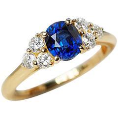 Cartier 1.37 Carat Sapphire 0.50 Carat Diamond Gold Ring