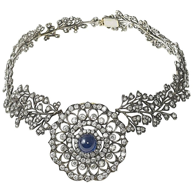 Cabochon Sapphire Diamond Necklace For Sale