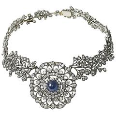 Cabochon Sapphire Diamond Necklace