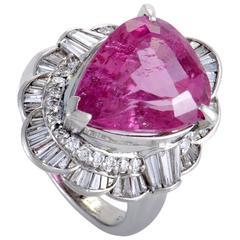 Pink Tourmaline Diamond Platinum Ring