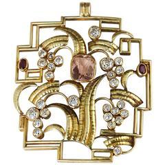 Vintage Anton Kling Wiener Werkstätte Topaz Diamond Ruby Gold Pendant