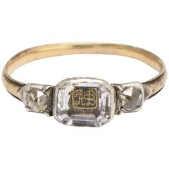 "Antique Stuart Crystal Ring with ""AB"" Cipher and Old Mine Cut Diamonds"