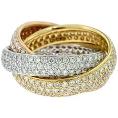 Diamond Tri-Color 18 Karat Rose, White and Yellow Gold Trinity Rolling Ring