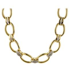 Damiani Diamond Yellow and White Gold Link Collar Necklace