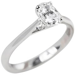 Mappin & Webb Platinum GIA Certified Oval Cut Diamond Engagement Ring