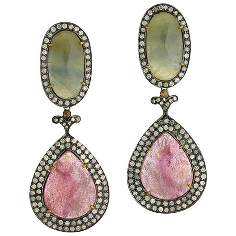 Sliced Sapphire Earrings with pave Diamonds Around