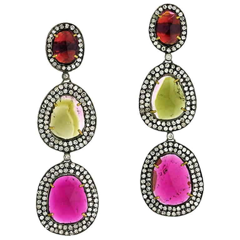 Multicolor Tourmaline Earring with Diamonds