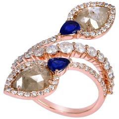 Ice Diamond Sapphire Rose Gold Ring
