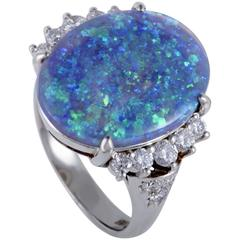 Diamond and Opal Platinum Cocktail Ring