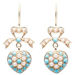Dangling Turquoise and Pearl Heart Earrings in Yellow Gold