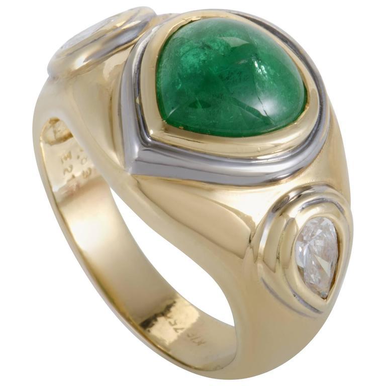 Emerald Diamond Yellow and White Gold Ring