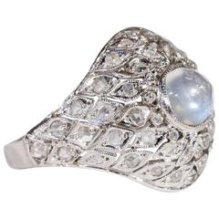 1920s Art Deco Moonstone Diamond Dome Ring