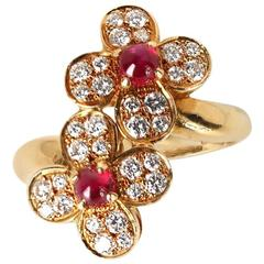 Van Cleef & Arpels Trefle Double Flower Diamonds Rubies Ring