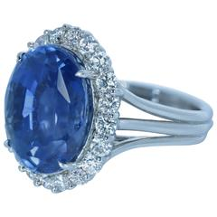 19.43 Carat Unheated Ceylon Sapphire Diamond Platinum Diana Style Ring