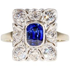Belle Époque Sapphire Diamonds Gold Platinum Ring