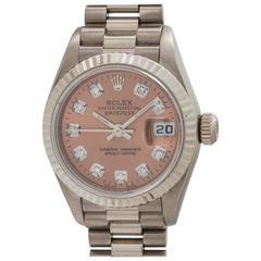 Rolex Ladies White Gold Ice Pink Diamond President Wristwatch Model 79179