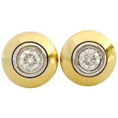 1.29 Carat GIA Certified Diamond White and Yellow Gold Stud Earrings
