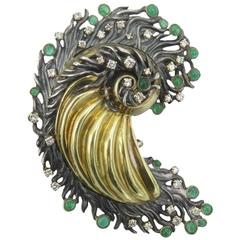 Emerald Diamond Silver Yellow Gold Brooch