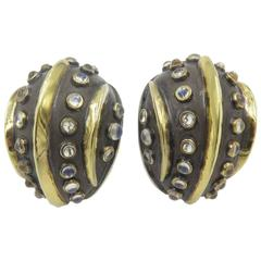 Moonstone Silver Gold Earrings