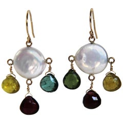 Marina J Multicolor Tourmaline Briolettes, Pearls and 14 k Yellow Gold  Earrings