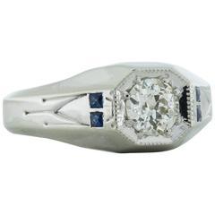 .57 Carat Old European Cut Sapphire Diamond Platinum Ring