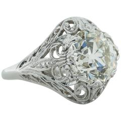 3.03 Carat Old European Cut Diamond White Gold Ring