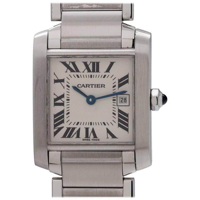 Cartier Stainless Steel Tank Francaise Midsize Quartz Wristwatch, circa 2000