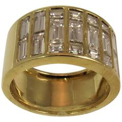 Square Diamond Baguette Yellow Gold Wide Band Ring