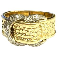 Hammerman Brothers Diamond Two-Color Gold Buckle Band Ring