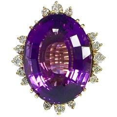 28 Carat Amethyst Diamond Gold Cocktail Ring