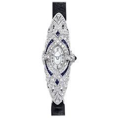 Diamond and Sapphire Art Deco Watch