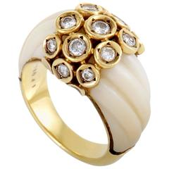 Van Cleef & Arpels White Coral Diamond Yellow Gold Ring