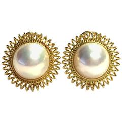 Mabe Pearl Gold Sunburst Earrings