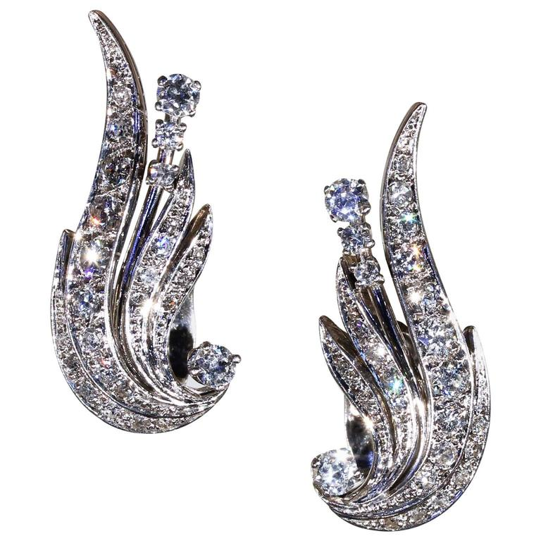 1950s Retro Diamond Gold Platinum Wing Earrings