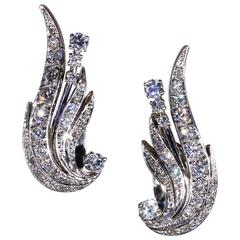 1950s Retro Diamond Gold Platinum Wing Earrings