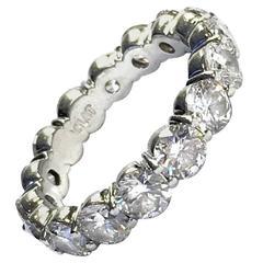 3.85 Carat Diamond Platinum Eternity Band Ring