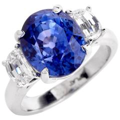 Sapphire GIA Certified Diamond Platinum Three-Stone Ring