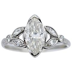 Art Deco 1.33 Carat Diamond Platinum Engagement Ring