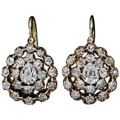 1880s Antique Russian 3 Carat Diamonds Gold Drop Earrings