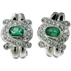 Emerald and Diamond Swirl 18 Karat White Gold Earrings